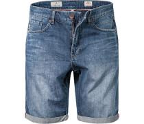 Herren Jeans Bermudas Baumwoll-Denim indigo blau