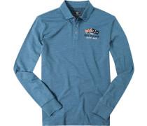 Polo-Shirt Polo Baumwolle taubenblau meliert