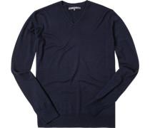 Pullover Schurwolle-Seide dunkelblau