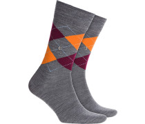 Socken Socken Schurwoll-Mix anthrazit-blau gemustert