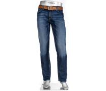 Herren Jeans Regular Slim Fit Baumwoll-Stretch denim blau