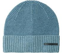 Mütze Baumwolle hellblau-rauchblau gemustert