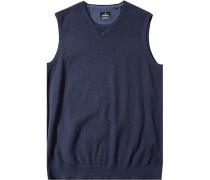 Pullover Pullunder, Baumwolle-Kaschmir, marine meliert