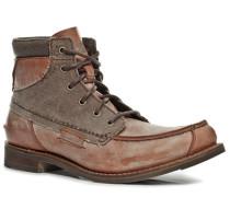 Herren Schuhe Schnürstiefeletten Rindleder-Canvas-Mix rotbraun