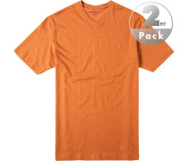 Herren T-Shirt Regular Fit Baumwoll-Mix orange meliert
