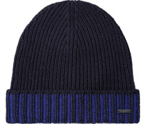 Herren   Mütze Schurwolle nachtblau-royal