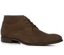 Schuhe Stiefeletten Veloursleder dunkelbraun