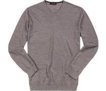 Pullover, Baumwolle, schiefergrau meliert