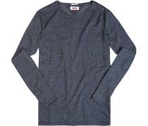 T-Shirt Longsleeve Baumwolle dunkelgrau meliert