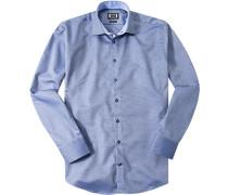 Hemd, Modern Fit, Baumwolle, navy-weiß gemustert
