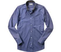 Hemd, Tailored Fit, Oxford, jeansblau meliert