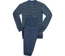 Schlafanzug Pyjama Baumwolle tintenblau-oliv gestreift