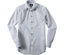 Oberhemd Modern Fit Popeline -weiß gestreift