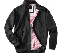 Herren Jacke Blouson Baumwolle schwarz schwarz,grau,rot,weiß