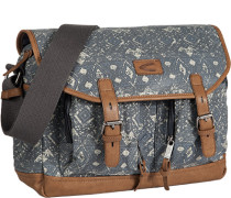 Herren Tasche  Messenger Bag Canvas-Mix grau-beige gemustert