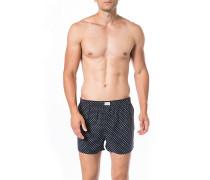 Unterwäsche Boxershorts Baumwolle navy gepunktet