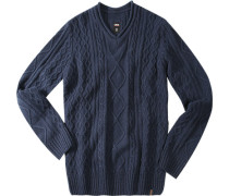 Herren V-Pullover Woll-Kaschmir-MIx navy blau