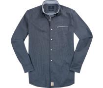 Hemd Modern Fit Popeline dunkelblau-weiß gemustert