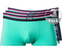 Unterwäsche Trunks Baumwoll-Stretch türkis-nachtblau kariert ,grün