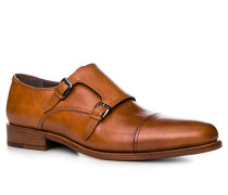 Schuhe Doppelmonkstrap, Kalbleder, cognac
