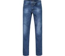 Herren Blue-Jeans Regular Cut Baumwoll-Stretch blau