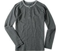 T-Shirt Longsleeve Baumwolle -schwarz gestreift