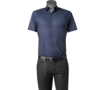 Herren Hemd Slim Fit Stretch-Popeline dunkelblau