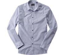 Oberhemd Fitted Popeline kobaltblau-weiß gemustert