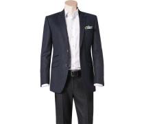 Herren Sakko Shape Fit Schurwolle nachtblau-blau gemustert