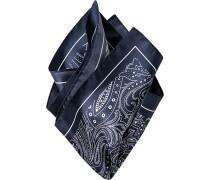 Herren Accessoires  Einstecktuch Seide nachtblau-weiß gemustert