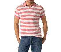 Herren Polo-Shirt Polo Baumwoll-Piqué erdbeerrot-weiß gestreift