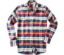 Herren Hemd Regular Fit Baumwolle rot-blau-grün kariert blau,rot