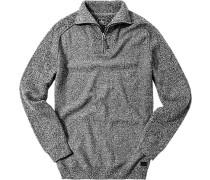 Pullover Troyer Merinowolle -weiß meliert
