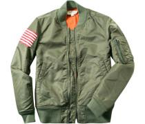Herren Jacke Wende-Blouson Microfaser khaki grün,orange