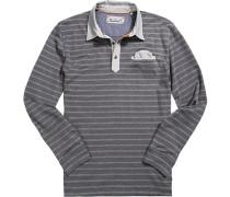 Polo-Shirt Polo Baumwoll-Jersey graphit gestreift