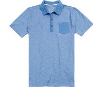 Polo-Shirt Modern Fit Baumwoll-Jersey azurblau-weiß gestreift