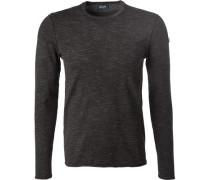 Pullover Pulli, Microfaser, schwarz meliert
