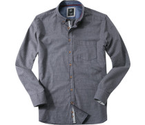 Herren Hemd Modern Fit Strukturgewebe grau-blau gemustert blau,grau