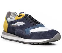 Herren Schuhe Sneaker Leder-Textil-Mix navy blau,weiß