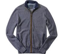 Cardigan Regular Fit Baumwolle-Schurwolle marineblau meliert