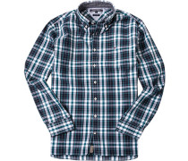 Hemd New York Fit Chambray petrol-weiß kariert