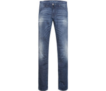 Herren Jeans Slim Fit Baumwoll-Stretch jeansblau