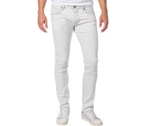 Jeans, Slim Fit, Baumwoll-Stretch, silbergrau