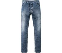 Blue-Jeans, Baumwoll-Stretch 8 oz hochelastisch, jeansblau