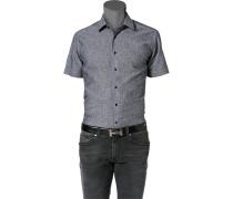 Herren Hemd Leinen-Baumwolle grau meliert