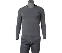 T-Shirt Long-Sleeve Baumwolle anthrazit meliert