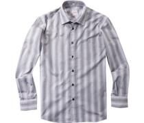 Hemd Regular Cut Popeline schwarz-weiß