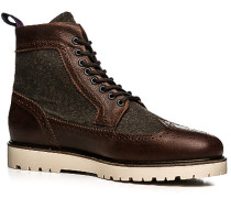 Schuhe Stiefeletten Leder-Wolle -olivgrün