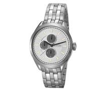 Herren Uhren  Chronograph Edelstahl silber-weiß grau