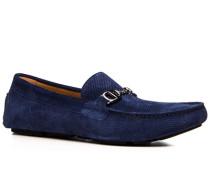 Herren Schuhe Slipper Veloursleder dunkelblau blau,beige